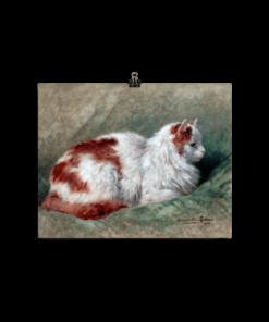 Henriette Ronner-Knip: Cat Sitting on Pillow 1904, Cat Art Poster