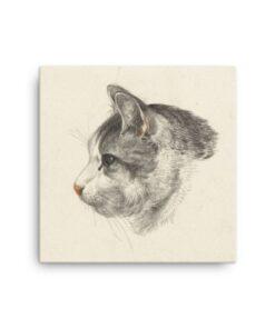 Jean Bernard: Study of a Cat's Head, Canvas Cat Art Print