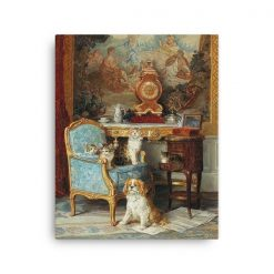 Louis Eugene Lambert: Family of Cats and Dog in the Salon, 1893, Canvas Cat Art Print
