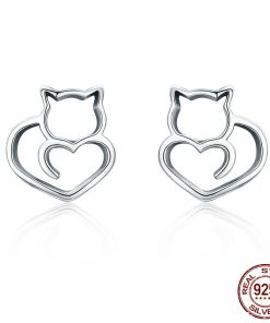 Sterling Silver Cat Design Stud Earrings