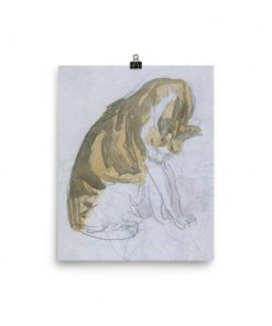 Gwen John: Cat Cleaning Itself, 20th Century, Poster 8x10