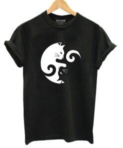Women's Yin Yang Cat Design 100% Cotton T-Shirt